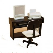 Barbie doll, scale doll house miniatures furniture wooden computer desk chair set