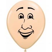 Merkloos Kleine ballon mannen gezicht 13 cm
