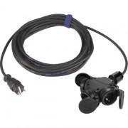 Rubber verlengkabel 20M zwart 3-voudige contactdoos en zware rubberkabel H07RN-F 3 x 1,5mm