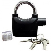 IBS Metallic Steel door lock Siren 110dB Alarm Padlock double protection (Black)