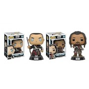Funko POP Star Wars Rogue One: Chirrut Imwe and Baze Malbus Toy Action Figures - 2 Piece BUNDLE
