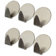Stainless Steel Adhesive Hooks for Room Kitchen Bathroom - Set of 6 pcs