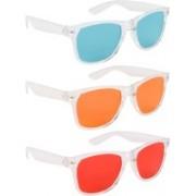 NuVew Wayfarer Sunglasses(Green, Orange, Red)