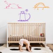 Stickere perete copii Pisicute somnoroase - 100 x 114 cm