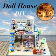 Hoomeda DIY Wooden Doll House Blue Ocean Coast Miniature Furniture Music Light Gift Decoration