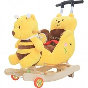ZhaoXH-Toy 3-in-1 Baby Rocking Horse Baby Stroller Plush Bear Rocking Chair with Sound,Wheels and Putter Soft Padded Seat with Backrest 18 Months to 3 Years Old (Color : Bear)