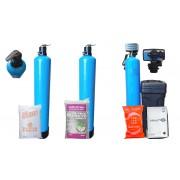 """Bateria 3 Etapas 1.5 ft3 Filtración Básica Válvula Manual Zeolita y Carbón, Suavizador automático 10"""" x 54"""" NO ensamblada"""