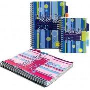 Project Book A4, 125 file 80g/mp, cu spirala dubla, coperti PP, PUKKA Stripes - matematica