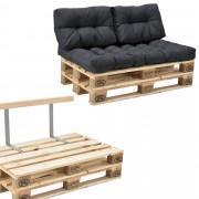 [en.casa]® Paletový interiérový nábytok - model B - tmavo sivý