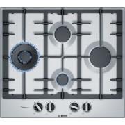 Plita pe gaz incorporabila Bosch PCI6A5B90, latime 60 cm, 4 zone de gatit, arzator wok, sistem de siguranta gaz, aprindere integrata, gratar din fonta, inox