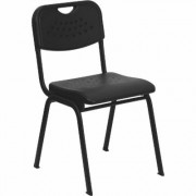 Flash Furniture Multipurpose Student Stacking Chair - Black, 880-Lb. Capacity, 16 1/4Inch W x 20 1/2Inch D x 29 1/2Inch H, Model RUTGK01BK