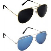 Pogo Fashion Club Aviator, Cat-eye Sunglasses(Black, Blue)