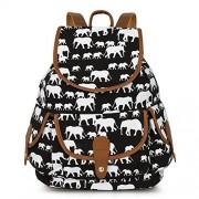 Vbiger Canvas Backpack Casual School Bag Travel Daypack for Girl (Black 2)