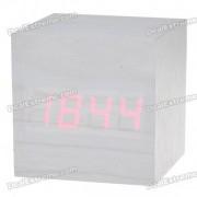 Reloj de alarma de escritorio rojo de madera del escritorio con el termometro (4 * AAA / USB accionado)