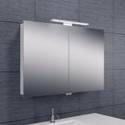 Spiegelkast Larissa 90x60x14cm Aluminium LED Verlichting Stopcontact Binnen en Buiten Spiegel Glazen Planken