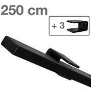IVOL Design trapleuning zwart rechthoekig - 250 cm + 3 houders