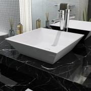 vidaXL Umyvadlo čtvercové keramické bílé 41,5x41,5x12 cm