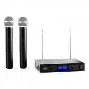 VHF-400 Duo 1 Sistema de Microfones sem Fio 2 Canais VHF 1x Receptor + 2x Microfones de Mão