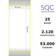 Etichette SQC - Carta normale (vellum) (bobina), formato 40 x 90