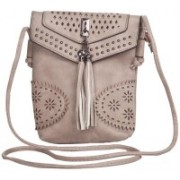 Aliado Faux Leather Solid Grey Magnetic Snap Crossbody Bag for Women Grey Sling Bag