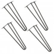 [en.casa]® Štýlové stolové nohy 3 – sada nôh (4 kusová) - 40 cm - strieborné