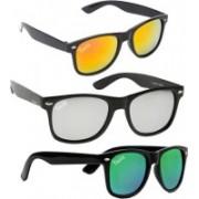 Tazzx Wayfarer Sunglasses(Silver, Yellow, Green)