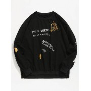 Zaful Sweat-shirt Pull-over Graphique Lettre Imprimée Noir S