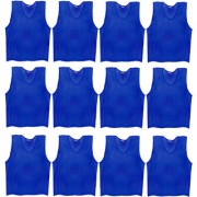 SAS Sports Training Bibs Scrimmage Vests Pennies for Soccer - Extra Large size (72 x 62cm) Blue color Set of 12