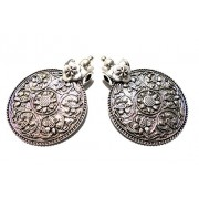 Goelx Antique Silver Designer Round Flower Pendant for Necklace Making, Pack of 2 - Design 7