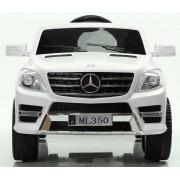 Mașinuță electrică Mercedes-Benz ML350, albă, scaun de plastic, suspensie