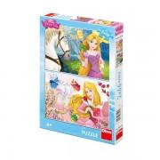 Puzzle 2 in 1 - Rapunzel si Aurora (66 piese)