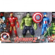 Shribossji Iron Man Hulk Captain America Trio Pack Big Size With Exclusive Weapons For Kids (Multicolor)