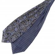 Tailor Toki Blauer Seiden Krawattenschal Streifen & Barock