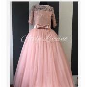 Puder roze haljina sa cipkom i tilom