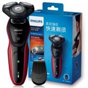 Máquina de Afeitadora eléctrica Philips S5078/04, indicador de batería baja, afeitadora rotativa recargable para maquinilla de afeitar eléctrica para hombre 100 220 V(Rojo)