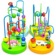 AHZZY Mini Wooden Around Beads Educational Toy, Counting Game Toys Kids Baby Bead Maze Game (Random Color)