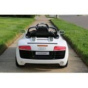 Audi R8 White - First Drive - 12v Kids Cars - Dual Motor Electric Power Ride On Car with Remote, MP3, Aux Cord, Led Headlights, and Premium Wheels
