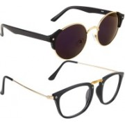 NuVew Rectangular, Round Sunglasses(Blue, Clear, Violet)