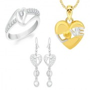 VK Jewels Gold and Rhodium Plated Alloy Earrings & Ring & Pendant Combo Set for Women & Girls made with Cubic Zirconia - COMBO1501G [VKCOMBO1501G8]