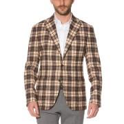 【65%OFF】タータンチェック ノッチドラペル テーラードジャケット ブラウンチェック 50 ファッション > メンズウエア~~ジャケット