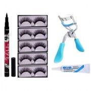 False Eyelashes-Set of 5 Eyelashes Glue 36 hrs eyeliner Eyelash Curler