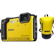 "Aparat Foto Digital Nikon COOLPIX W300 Holiday Kit, 16 MP, 1/2.3"" CMOS, 5x Zoom optic, Filmare 4K, Waterproof, Shockproof, GPS, Bluetooth, WiFi (Galben)"
