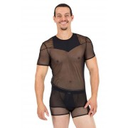 Lookme Reckless Fishnet & Sheer Combination Short Sleeved T Shirt Black 52-81