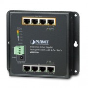Planet Industrial 8-Port 10 100 1000T Wall-mount Managed Switch with 4-Port PoE (-40~75 degrees C)