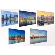 VakantieVeilingen.be Skyline van een wereldstad op glas (40 x 60 cm)