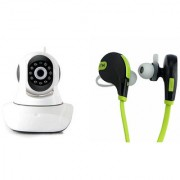 Zemini Wifi CCTV Camera and Jogger Bluetooth Headset for SAMSUNG GALAXY S 5 SPORT(Wifi CCTV Camera with night vision |Jogger Bluetooth Headset With Mic )