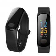 B18S ECG and PPG Blood Pressure Heart Rate Tracker Smart Bracelet with Color Screen for Android and iOS - Black