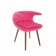 Replica Frost Chair by Bo Strange with Pink Soft Cashmere Fabric and Walnut Wood Legs