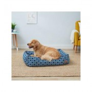 P.L.A.Y. Pet Lifestyle and You Moroccan Bolster Cat & Dog Bed w/Removable Cover, Navy, Large