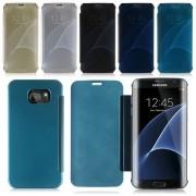 Husa Book Mirror pentru telefon Samsung Galaxy S7 Edge (Culoare: Silver, Adaugă Folie (opțional): Folii 3D sticlă (full display))